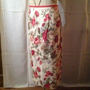 Susan Bristol Linen Print Skirt